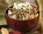 crab and coconut dip with plantain chips picture