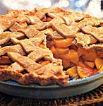 spiced peach pie with lattice crust picture
