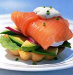 salmon wrapped poached eggs picture