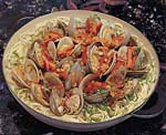 spicy asian-style noodles with clams picture