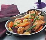 rabbit, carrot, leek, and green bean ragout picture