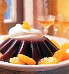 blood orange jelly with brandied whipped cream picture