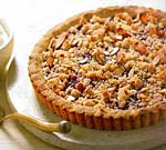 raspberry jam tart with almond crumble picture