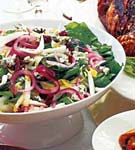 endive and arugula salad with pickled onions and blue cheese picture