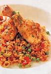 spanish-style chicken with saffron rice (arroz con pollo) picture