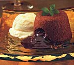 molten chocolate cakes with mint fudge sauce picture