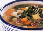 vegetable soup with basil and garlic sauce picture