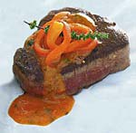 pan-seared filet mignon with red bell pepper, tomato, and basil sauce picture