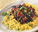 yellow rice salad with roasted peppers and spicy black beans picture