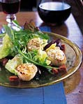 sauteed scallops with andouille and baby greens picture