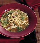 chinese chicken noodle soup with sesame and green onions picture
