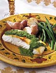halibut with herb sauce picture