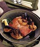 salmon in saffron mussel sauce picture