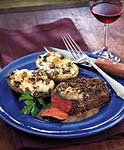 peppercorn steaks with bourbon sauce picture