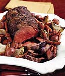 rib-eye roast with chianti pan vegetables and balsamic glaze picture
