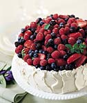 mixed-berry chiffon cake with almond cream cheese frosting picture