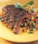 barbecued ribs with corn and black-eyed-pea salad picture