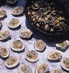 grilled clams on the half shell with ginger mignonnette picture