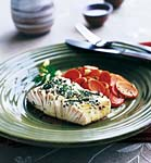 sake-steamed halibut with dilled carrots picture