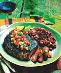 spicy barbecued rib-eye steaks with smoked vegetable salsa picture