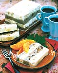 coffee and turron ice cream torte with honey-brandy oranges picture