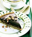caramel-walnut tart with chocolate glaze picture