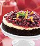 cranberry-orange cheesecake with chocolate crust picture
