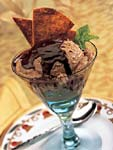 coffee ice cream and mexican chocolate sundaes with cinnamon-sugar tortilla crisps picture
