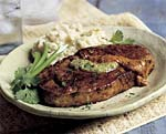 pan-fried steaks with salsa verde and ancho chili sauce picture