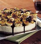 chocolate brownie torte with white chocolate mousse and caramelized bananas picture