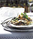 mushroom crepes with poblano chile sauce picture