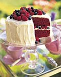 red velvet cake with raspberries and blueberries picture