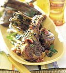 barbecued rack of lamb with tomato-mint dressing picture