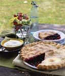 three-berry pie with vanilla cream picture