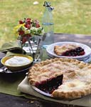 three-berry pie with vanilla cream picture