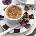 white pepper creme brulee with fig and prune compote picture