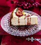 lemon cheesecake with strawberries and port glaze picture