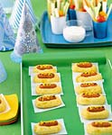 mini hot dogs in cheddar buns picture