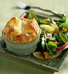 cabrales cheese souffles with endive and asian pear salad picture