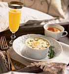 individual oven-coddled eggs with mashed potatoes and herbs picture