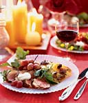 duck breast with creme fraiche and roasted grapes picture