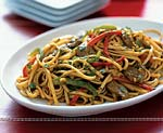 stir-fried noodles with singapore lamb curry picture