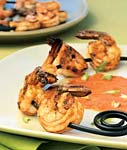 shrimp skewers with charred-tomato vinaigrette picture