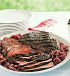 barbecued tri-tip with caramelized red onions picture