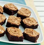 chocolate brownies with peanut butter frosting picture