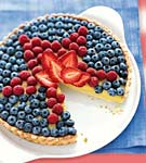 white balsamic custard tart with fresh berry topping picture