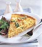 yellow squash and mozzarella quiche with fresh thyme picture