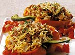 lamb and orzo stuffed pepper with chunky tomato sauce picture