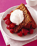 chocolate angel food cake with fruit and maple yogurt picture