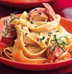 lobster pasta with herbed cream sauce picture